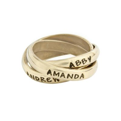 Personalized Intertwined Mothers Rings In 14K Gold