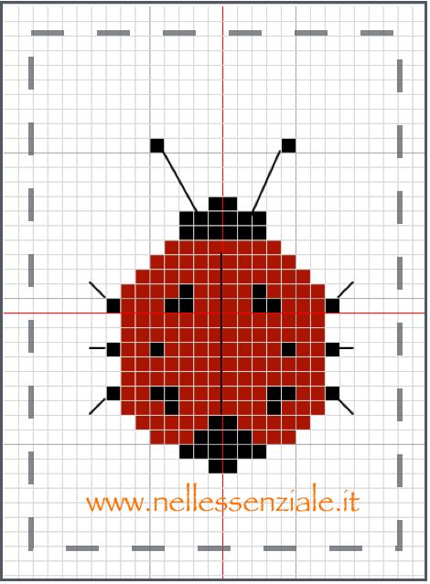 schema punto croce coccinella