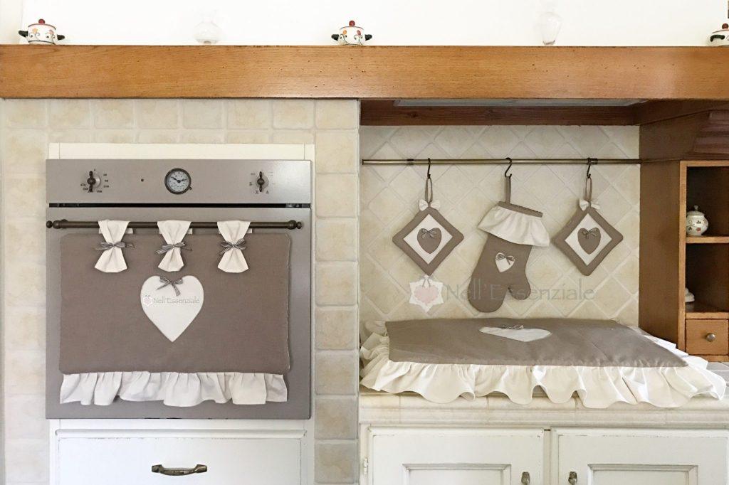 Set cucina CUORE in cotone rustico