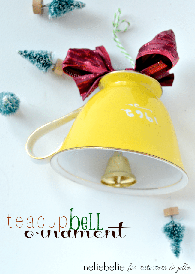 Happy holidays diy teacup bell ornament tatertots and jello