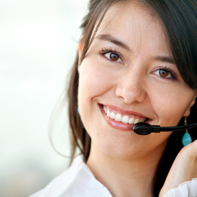 customer services operator woman smiling at the office