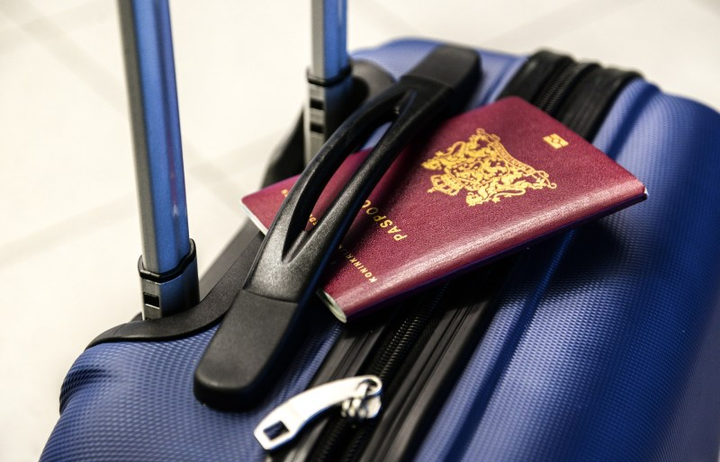 travel bag and a passport