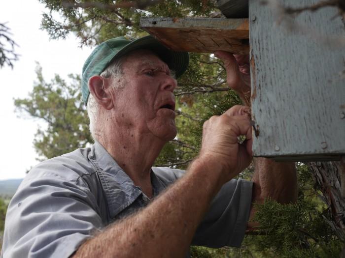 91-year old Al Larson checking a bluebird box