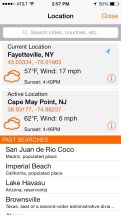 Search gives you access to local weather and for the area you are exploring.