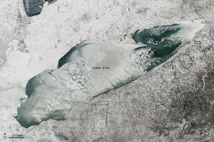 Lake Erie as of January 9th, 2014 (Photo by NASA's Aqua satellite)