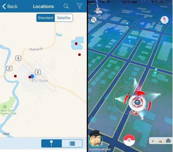 Birding location hotspots on BirdsEeye (left) vs. Pokemon Pokestops