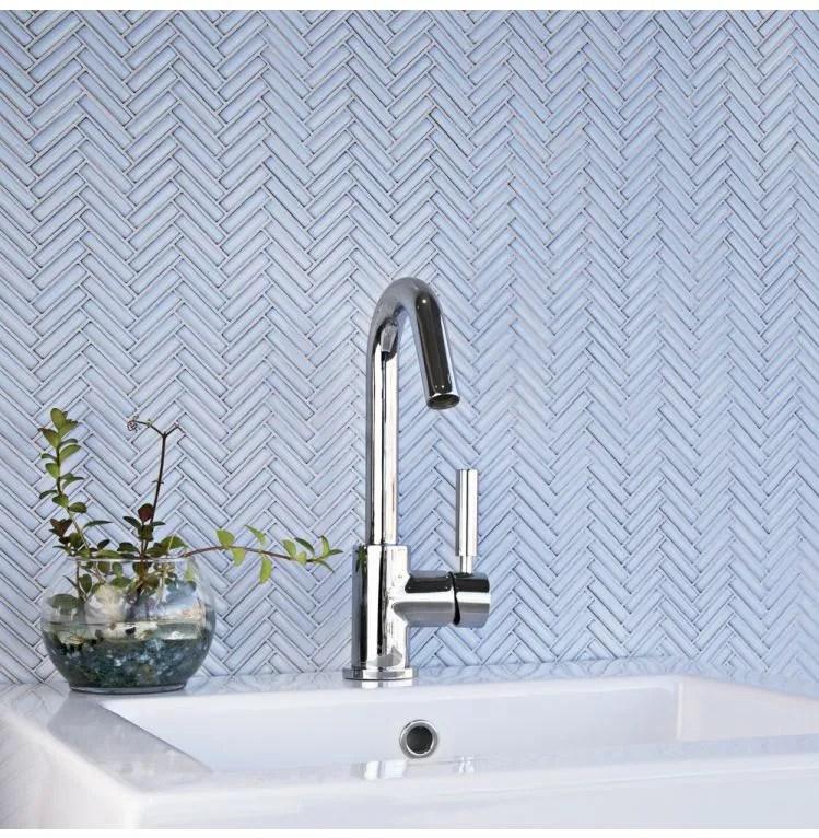 glazed herringbone cornflower mosaic sheet