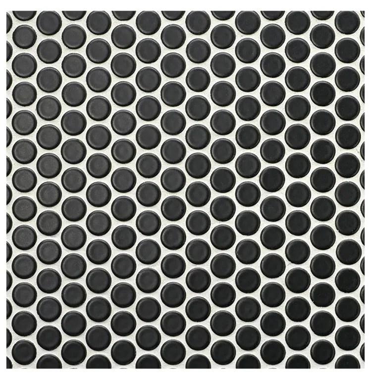glazed penny round black matte mosaic sheet