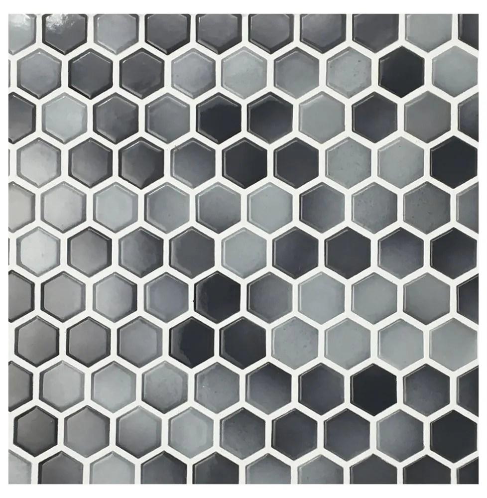 glazed hexagon grey mix mosaic sheet