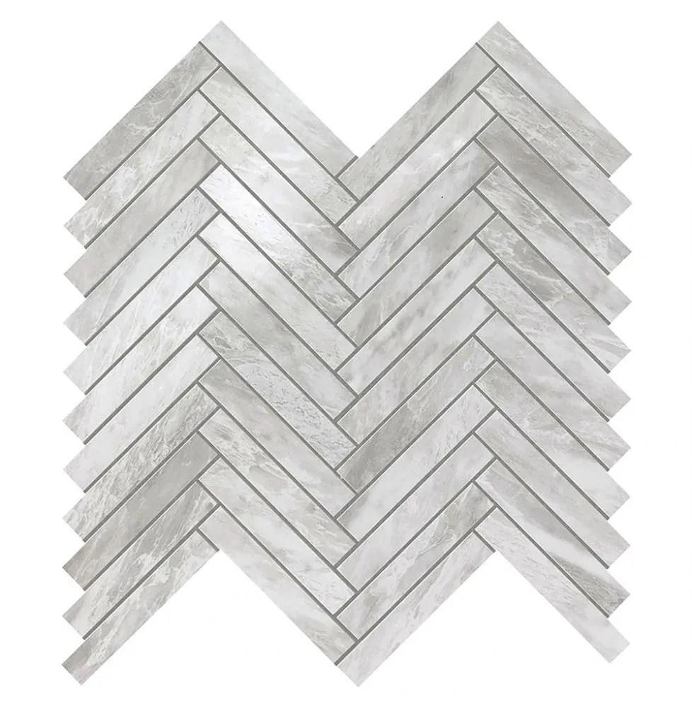 marvel stone bardiglio grey herringbone wall tile polished 11 8x12