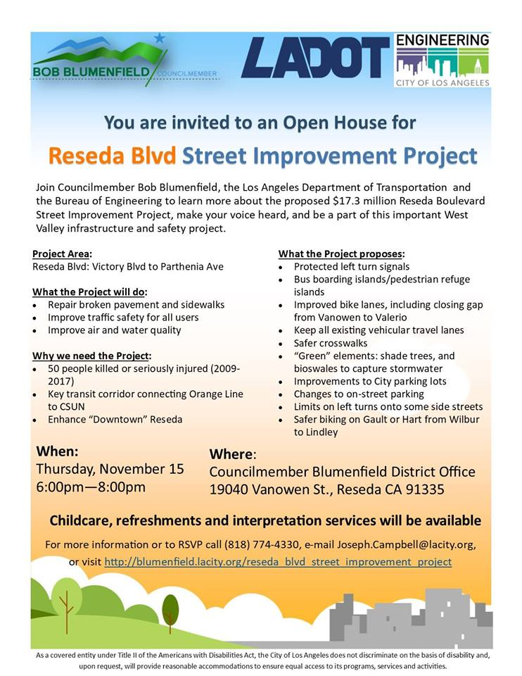 Reseda Blvd. Street Improvement Project Open House