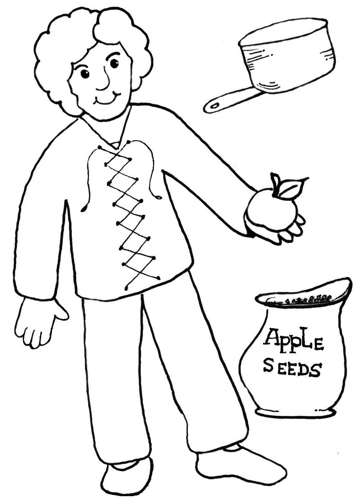 Johnny Appleseed Color Pages Printable Pages Neo Coloring