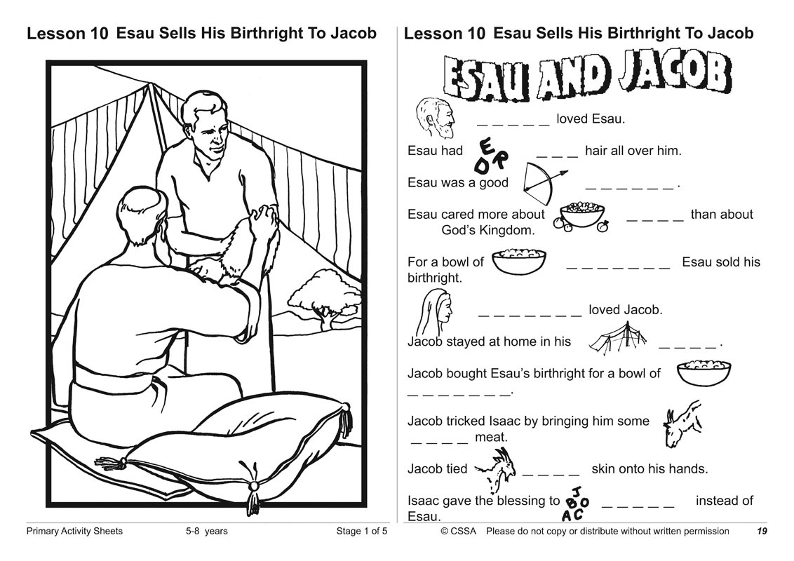 Jacob And Esau Activity Sheets