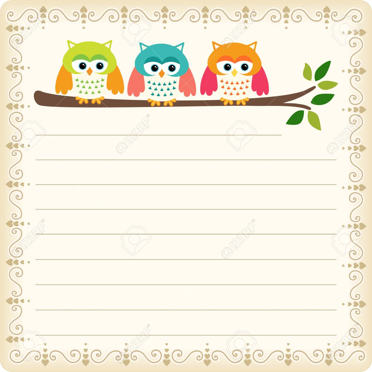 Three Owls Blank Template Royalty Free Cliparts Vectors