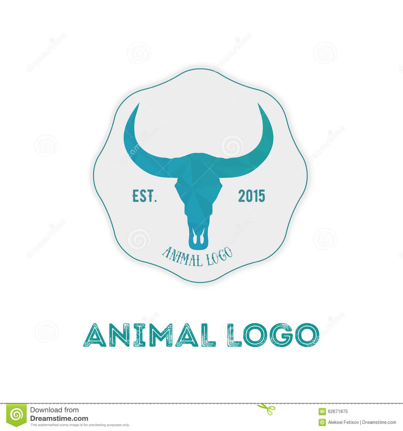 Polygonal Hipster Logo With Head Of Buffalo In Mint Color