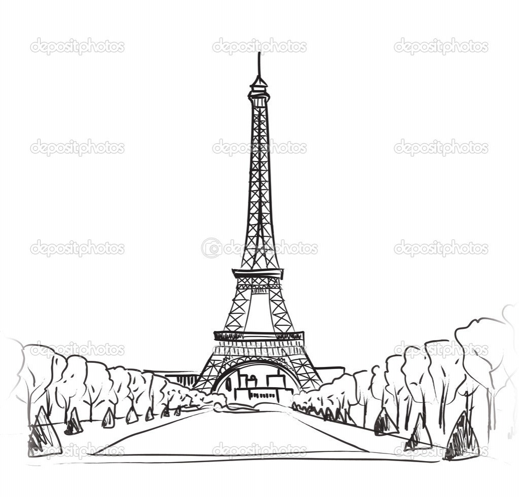 Eiffel Tower Simple Sketch At Paintingvalley Com Neo