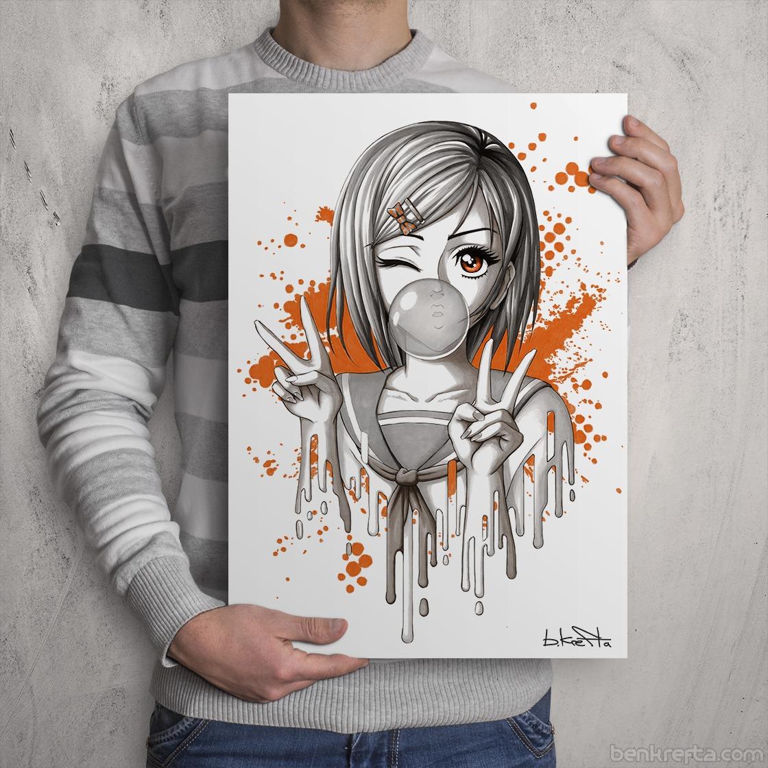 Ben Krefta Com A Bubblegum Manga Girl Print A A3 Neo