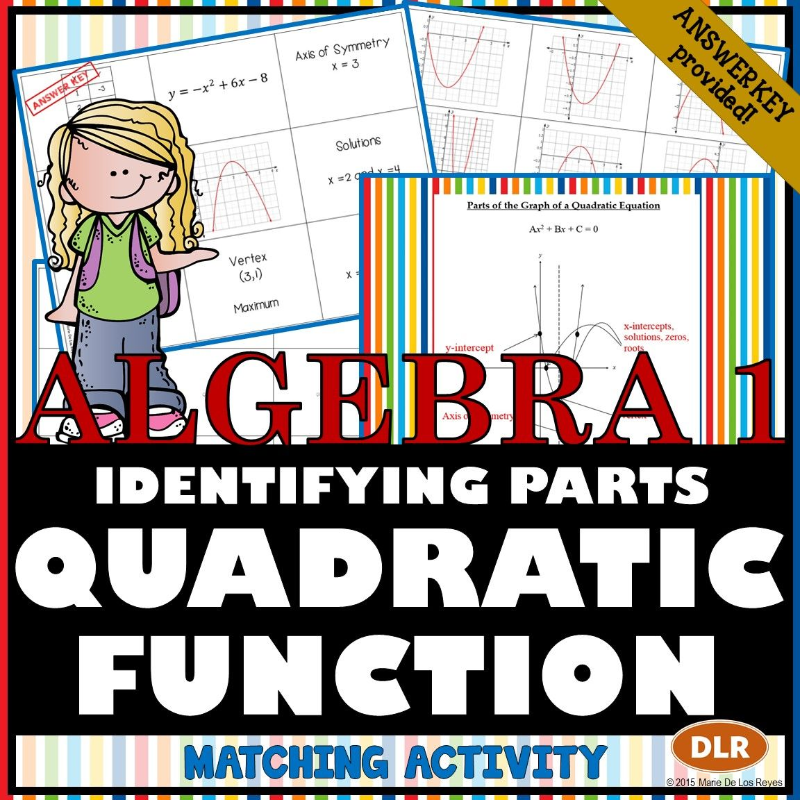 Identifying The Parts Of The Quadratic Equation Matching Activity Neo Coloring
