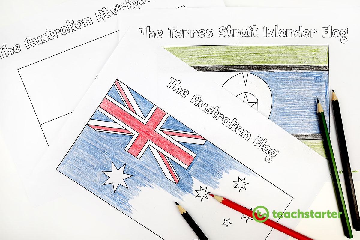 Australian Aboriginal Flag Colouring In
