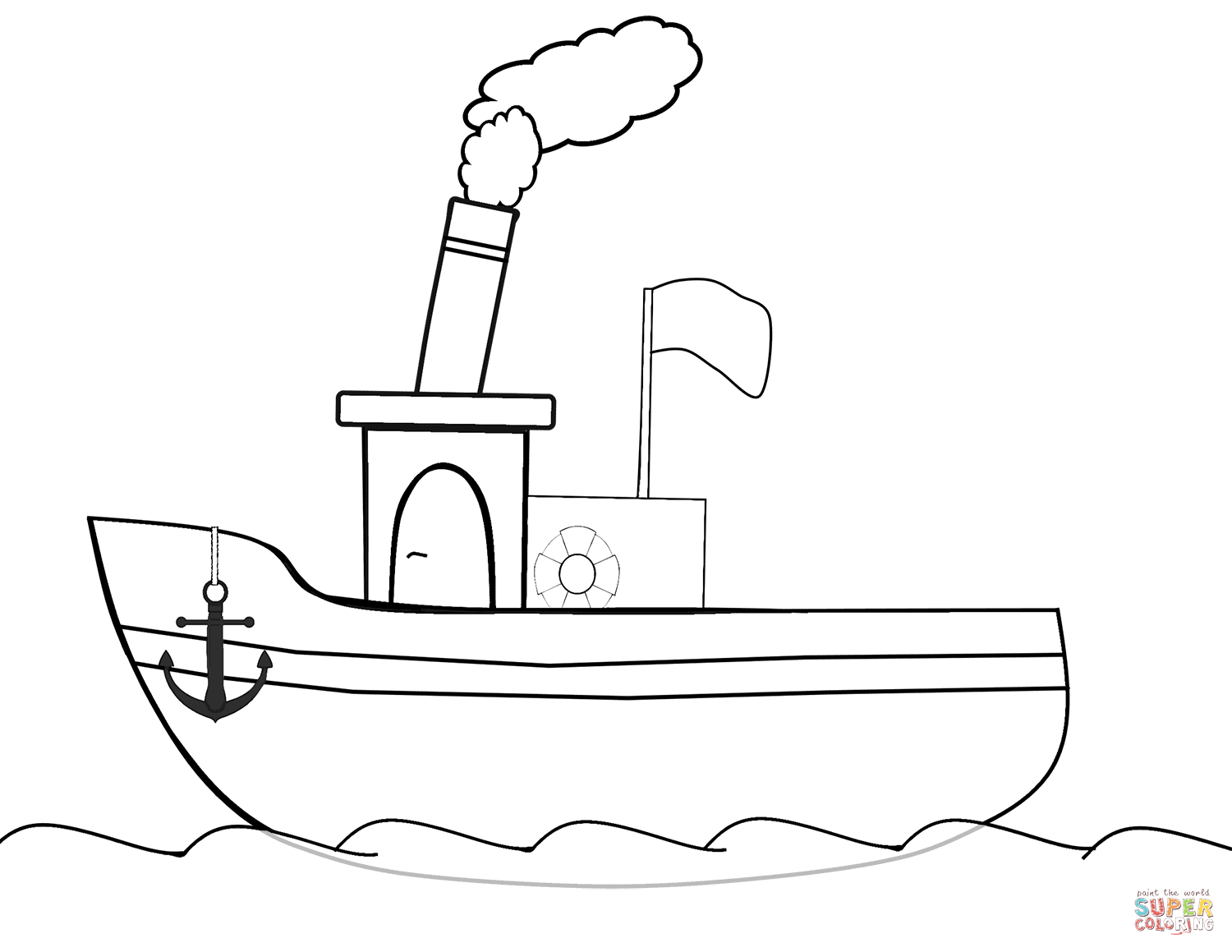 Cartoon Steamboat In The Sea Coloring Page Neo Coloring