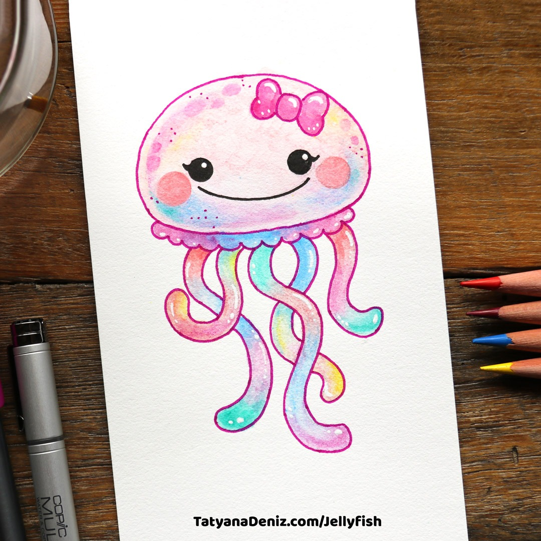 How To Draw Kawaii Jellyfish And Colour It With