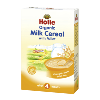 Holle Organic Milk Cereal with Millet wholegrain cereal after 4 months