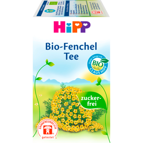 Hipp bio baby tea fennel. Sugar free. Suitable from the first week of baby's life.