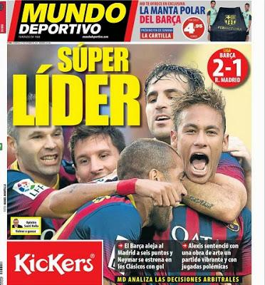 Barcelona vs. Real Madrid. Portada 27/10/13 diario Mundo Deportivo