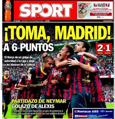 Barcelona vs. Real Madrid. Portada 27/10/13 diario Sport