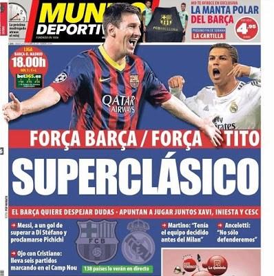 Barcelona vs. Real Madrid 2013-Portada del diario Mundo Deportivo
