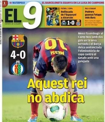 Portada EL 9 esportiu 9/01/2014