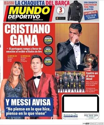 Portada Mundo Deportivo Cristiano Ronaldo Balón de Oro 2013