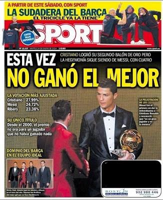 Portada Sport Cristiano Ronaldo Balón de Oro 2013