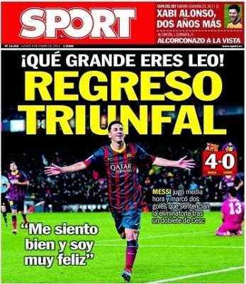 Portada Sport 9/01/2014