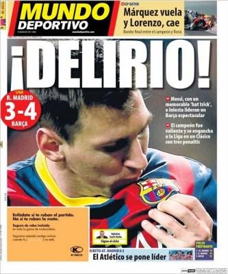 Real Madrid-Barcelona portada 23/03/2014 diario Mundo Deportivo