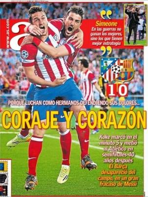 Portada AS10/4/2014 Atletico Madrid 1-Barcelona 0 Champions League