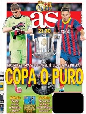 Portada AS Final Copa del Rey 2014: Barcelona vs. Real Madrid