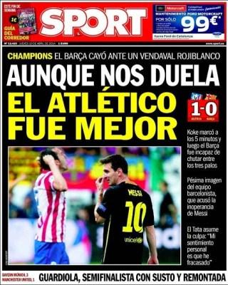 Portada Sport 10/4/2014 Atletico Madrid 1-Barcelona 0 Champions League