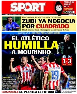 Portada Sport: Atlético Madrid finalista de la Champions League