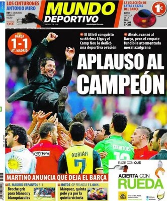 Portada Mundo Deportivo: Atlético Madrid Campeón Liga Española 2014