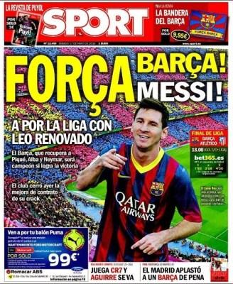 Portada diario Sport 17/05/2014