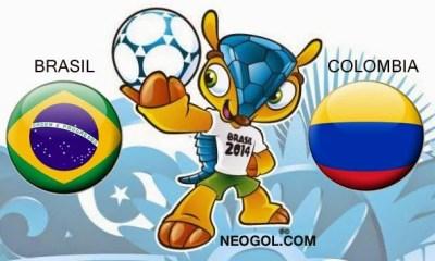 Alineación y la previa Brasil-Colombia. Cuartos de final