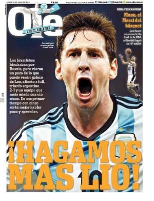Portada diario Ole Argentina Bosnia, Mundial de Brasil