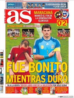 Portada AS: España eliminada del Mundial Brasil 2014