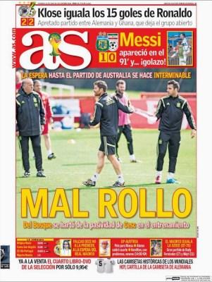 Portada AS Mundial Brasil: Mal rollo en España
