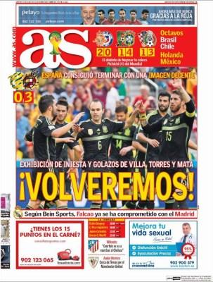 Portada As: España se despide de Brasil con un triunfo ante Australia