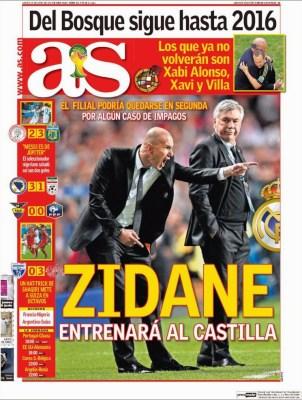 Portada as, Mundial Brasil 2014. zidane al castilla