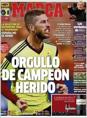 Portada Sport la roja post caída ante Holanda mundial brasil 2014