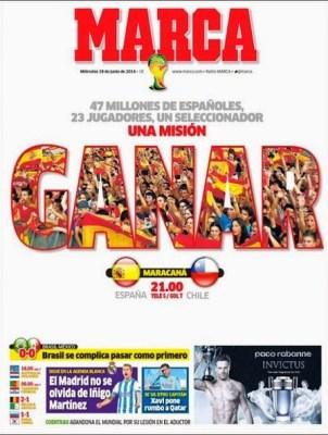 España se juega la clasificación ante Chile: Las portadas brasil méxico ochoa heroe