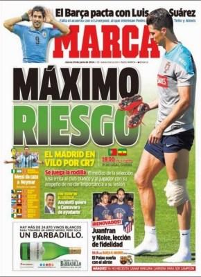 Portada Marca, Mundial Brasil 2014 cristiano ronaldo lesion